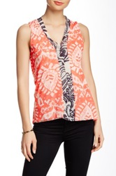 Sweet Pea Mesh Mix Print V Neck Tank Petite Orange