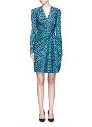 Lanvin Draped Knot Leopard Print Dress Blue