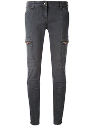 Armani Jeans Panelled Skinny Women Cotton Spandex Elastane 44 Grey
