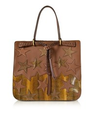 Roberto Cavalli Stars Patchwork Caramel Leather Tote