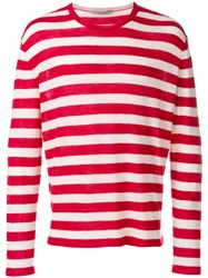 Ermanno Scervino Striped Longsleeveled Jumper Wool Cashmere Silk Red