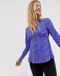 Influence Collar Detail Tea Blouse In Splodge Print With Button Front Blue Splodge