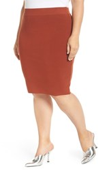 Leith Plus Size Body Con Skirt Brown Spice