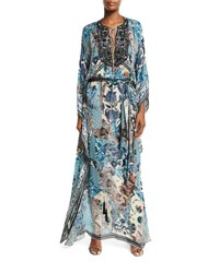 Roberto Cavalli Floral Lace Up Long Sleeve Maxi Dress Blue