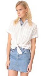 Madewell Short Sleeve Tie Front Shirt Lighthouse