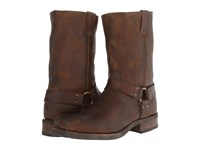 Frye Heath Harness Whiskey Stone Tumbled Cowboy Boots Brown