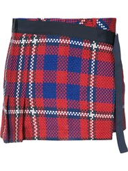 Sacai Tartan Kilt Skort Women Cotton Cupro 2 Red