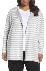 Eileen Fisher Plus Size Women's Reversible Organic Cotton Blend Cardigan Dark Pearl