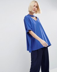Asos White Oversized T Shirt With V Cut Out Detail Royal Blue