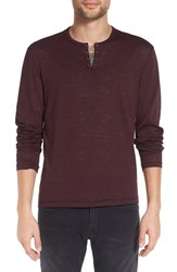 John Varvatos Men's Star Usa Eyelet Henley Oxblood