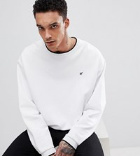 Heart And Dagger Boxy Sweatshirt With Contrast Tipping White
