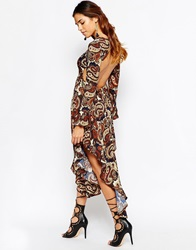 Kiss The Sky In A Trance Midi Dress In 70S Paisley Print With Open Back Multi