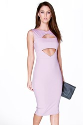 Boohoo Cut Out Detail Midi Bodycon Dress Violet