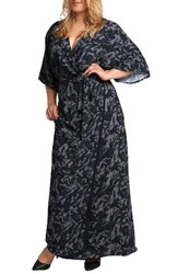 Standards And Practices Plus Size Women's Olivia Wrap Kimono Maxi Dress Midnight Camo