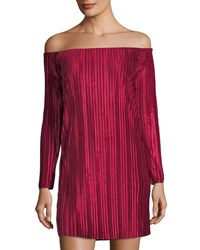 Romeo And Juliet Couture Pleated Velvet Off The Shoulder Dress Dark Red