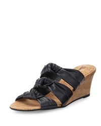 Neiman Marcus Marcela Knotted Leather Wedge Sandal Navy