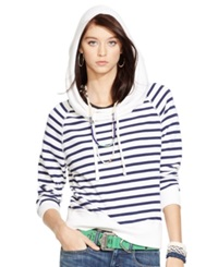 Polo Ralph Lauren French Terry Cowl Neck Hoodie White Blue
