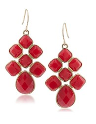 1St And Gorgeous Scarlet Red Cabachon Chandelier Earrings Gold