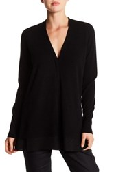 Vince V Neck Long Sleeve Silk Trim Wool Blend Cardigan Black