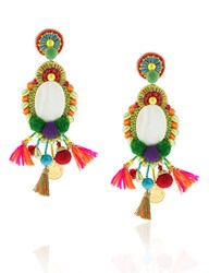 Ranjana Khan Multi Pom Pom Clip On Earrings