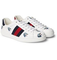 Gucci Ace Printed Leather Sneakers White