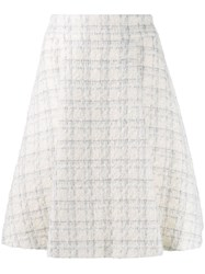 Genny Checked Tweed A Line Skirt White