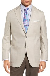 David Donahue Men's Big And Tall Aiden Classic Fit Wool Blazer Tan