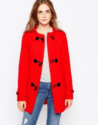 Cooper And Stollbrand Heritage Duffle Coat With Toggle Closure Red