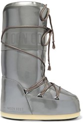 Moon Boot Glance Metallic Rubber Snow Boots Silver