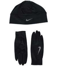 Nike Run Dry Hat And Gloves Set Black Black Silver Athletic Sports Equipment