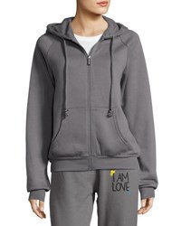 Peace Love World Each Other Zip Up Drawstring Hoodie Gray