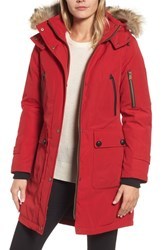 Pendleton 'Jackson' Hooded Down Parka With Genuine Coyote Fur Trim Red
