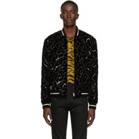 Saint Laurent Black Teddy Tangle Silver Bomber Jacket
