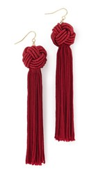 Vanessa Mooney The Astrid Knotted Tassel Earrings Burgundy