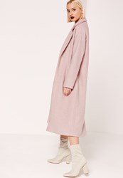 Missguided Tailored Textured Maxi Faux Wool Coat Pink