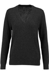 James Perse Grosgrain Trimmed Cashmere Sweater Charcoal