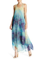 Charlie Jade Print Silk Maxi Dress Blue