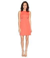 Ivanka Trump Solid Scuba Fit And Flare Dress With Hardware Grommets Coral Women's Dress