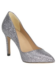 Phase Eight Lucie Glitter Point Heeled Shoes Silver Metallic