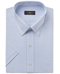 Club Room Men's Easy Care Light Blue Double Tattersall Short Sleeve Dress Shirt Only At Macy's