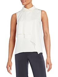 O'2nd Marion Asymmetrical Overlay Silk Top Cream