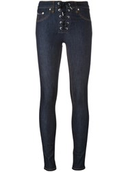 Rag And Bone Jean Lace Up Skinny Jeans Blue