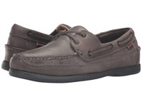 Sebago Schooner Dark Grey Tumbled Leather Men's Shoes Gray