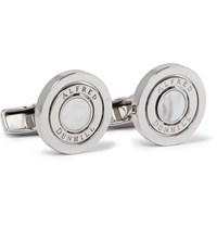 Dunhill Gyro Palladium Plated Mother Of Pearl Cufflinks Silver