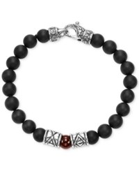 Scott Kay Men's Onyx And Red Agate Bead Bracelet With Sterling Silver Accents Black