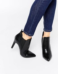London Rebel Point Heeled Ankle Boots Black Pu