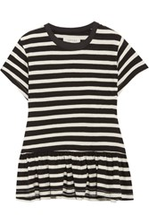The Great Ruffle Striped Cotton Jersey T Shirt Black