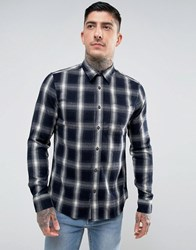 Hymn Spider Shadow Check Shirt Navy