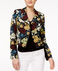 Rachel Roy Textured Floral Print Jacket Only At Macy's Black Combo