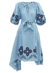 Innika Choo Hugh Jesmock Linen Chambray Midi Dress Denim